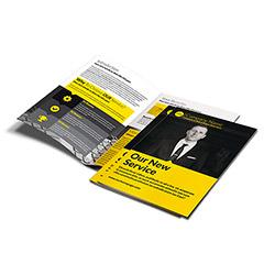 Díptico/folleto tamaño A5 (148x210 mm cerrado)